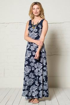 BALI dlouhé dámské šaty ze 100% biobavlny - tmavě modrá navy