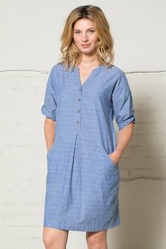 JACQUARD dámské letní košilové šaty - světle modrá