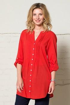 PIN dámská tuniková košile - červená tomato