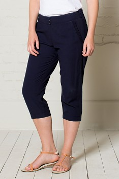 CROP dámské letní 3/4 kalhoty - modrá midnight