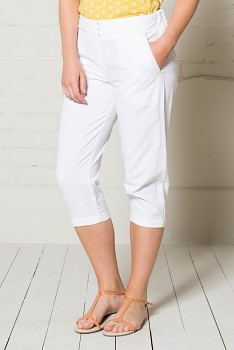 CROP dámské letní 3/4 kalhoty - bílá