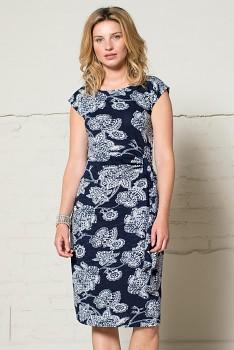 BALI dámské šaty s krátkými rukávy ze 100% biobavlny - tmavě modrá navy