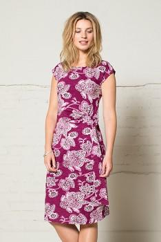 BALI dámské šaty s krátkými rukávy ze 100% biobavlny - malinová