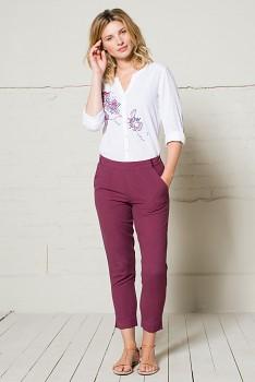 SLIM dámské capri kalhoty - malinová