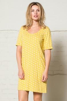 GEO STAR dámské pouzdrové letní šaty ze 100% biobavlny - žlutá hořčicová