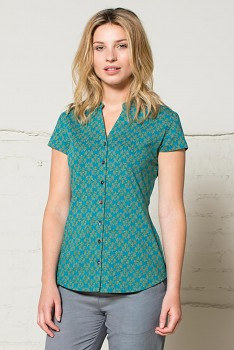 NEHRU dámská košile ze 100% biobavlny - zelenomodrá teal