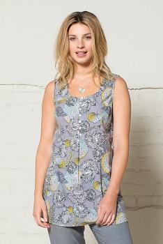 50´s dámská letní tunika bez rukávů - šedá