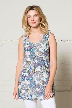 50´s dámská letní tunika bez rukávů - modrá heather