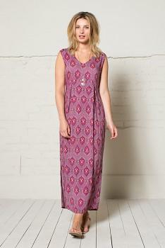 IKAT dámské dlouhé letní šaty - růžová heather