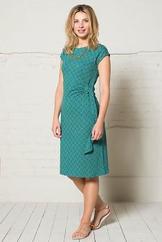 JAIPUR dámské šaty s krátkými rukávy ze 100% biobavlny - modrozelená teal