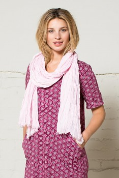 CRINKLE mačkaná letní šála - růžová blush
