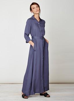 TANAMI dámské denimové maxi šaty ze 100% tencelu - modrá steel