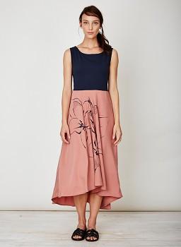 LIBERTY dámské letní šaty ze 100% tencelu - tmavě modrá/terracota