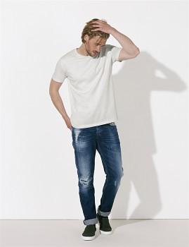 STANLEY LEADS Pánské tričko s krátkým rukávem ze 100% biobavlny - krémově šedá melange