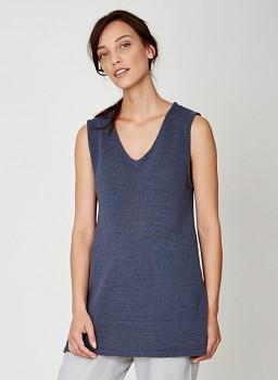 LUCIA dámská pletená letní tunika ze 100% biobavlny - tmavě modrá steel