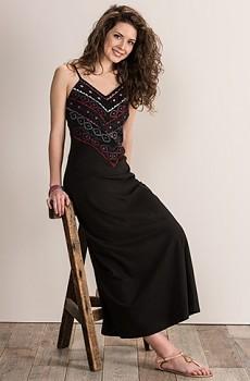 MANDALA dámské letní maxi šaty ze 100% biobavlny - černá