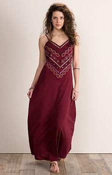 MANDALA dámské letní maxi šaty ze 100% biobavlny - vínová
