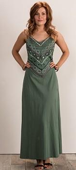 MANDALA dámské letní maxi šaty ze 100% biobavlny - zelená