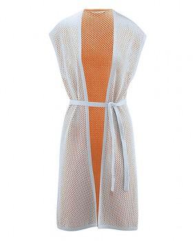 MESH Dámská oboustranná letní vesta z konopí a biobavlny - oranžová carrot