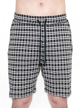Albero pánské pyžamové šortky ze 100% biobavlny - černobílá kostka