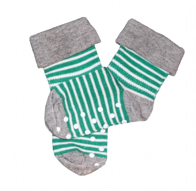 Dětské protiskluzové ponožky z biobavlny - zelený proužek 30denni ... b210802820