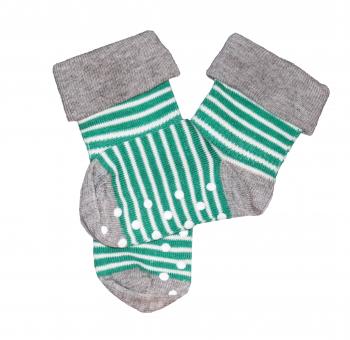 Dětské protiskluzové ponožky z biobavlny - zelený proužek