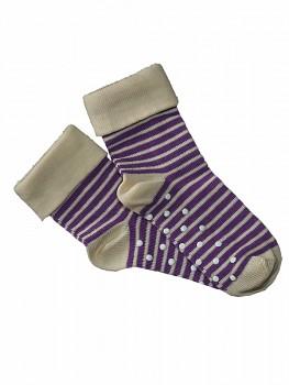 Dětské protiskluzové ponožky z biobavlny - fialový proužek