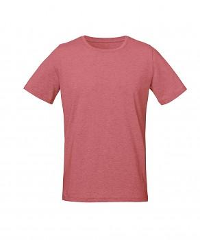 S&S LIVE unisex tričko s kulatým výstřihem ze 100% biobavlny - brusinková heather melange