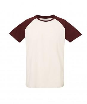 S&S BASEBALL SHORT unisex tričko s kulatým výstřihem ze 100% biobavlny - přírodní/burgundy
