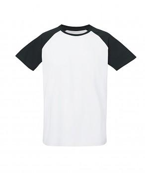 S&S BASEBALL SHORT unisex tričko s kulatým výstřihem ze 100% biobavlny - bílá/černá
