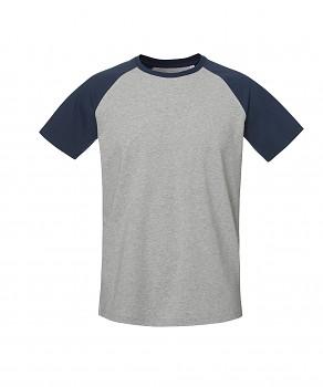S&S BASEBALL SHORT unisex tričko s kulatým výstřihem ze 100% biobavlny - šedá/navy