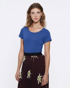 STELLA WANTS Dámské tričko s kulatým výstřihem ze 100% biobavlny - modrá mid royal heather