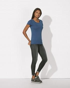 STELLA WANTS DENIM Dámské tričko s kulatým výstřihem ze 100% biobavlny - modrá light washed indigo