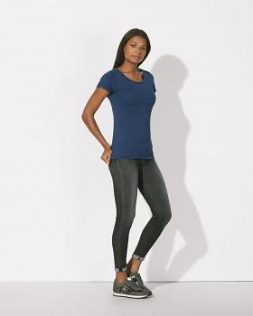 STELLA WANTS DENIM Dámské tričko s kulatým výstřihem ze 100% biobavlny - modrá mid washed indigo