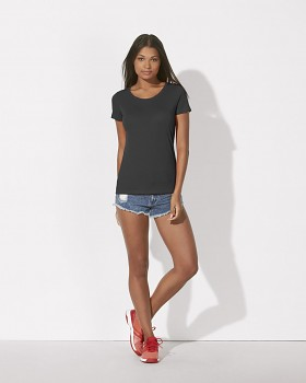 STELLA LOVES MODAL Dámské tričko z modalu a biobavlny - tmavě šedá antracit