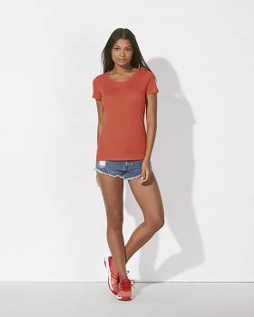 STELLA LOVES MODAL Dámské tričko z modalu a biobavlny - červená hot coral