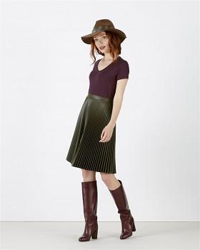 STELLA CHOOSES Dámské tričko s krátkými rukávy a velkým výstřihem do V ze 100% biobavlny - fialová heather grape red