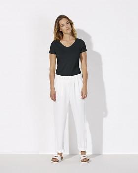 STELLA CHOOSES Dámské tričko s krátkými rukávy a velkým výstřihem do V ze 100% biobavlny - černá