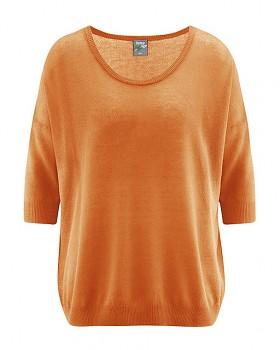 PEARL dámský pulovr z konopí a biobavlny - oranžová carrot
