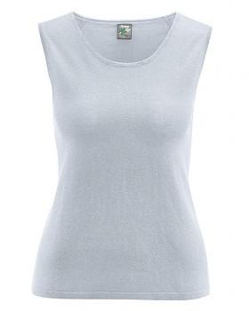 LAURY dámský top bez rukávů z konopí a biobavlny - šedá platinová
