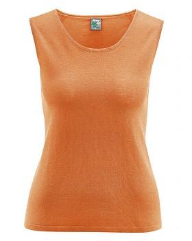 LAURY dámský top bez rukávů z konopí a biobavlny - oranžová carrot