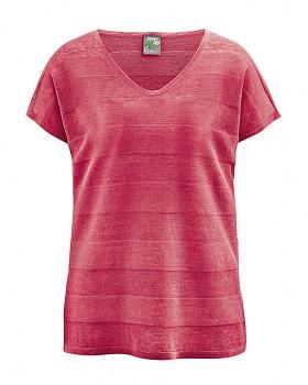 STREIF dámské triko s krátkými rukávy ze 100% konopí - červená tomato