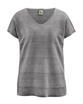STREIF dámské triko s krátkými rukávy ze 100% konopí - šedohnědá taupe