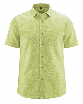 BRUST pánská košile s krátkým rukávem z biobavlny a konopí - zelená jablková