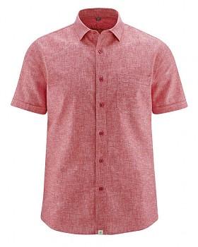 BRUST pánská košile s krátkým rukávem z biobavlny a konopí - červená tomato