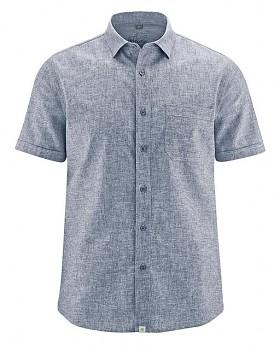 BRUST pánská košile s krátkým rukávem z biobavlny a konopí - světle modrá
