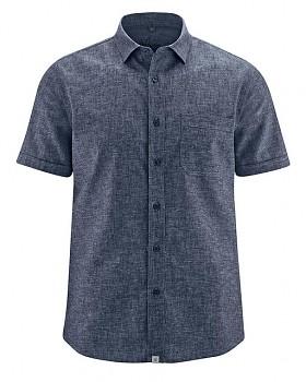 BRUST pánská košile s krátkým rukávem z biobavlny a konopí - tmavě modrá indigo