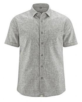 BRUST pánská košile s krátkým rukávem z biobavlny a konopí - béžovošedá flint