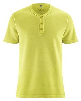 HENLEY pánské tričko z konopí a biobavlny - zelená apple
