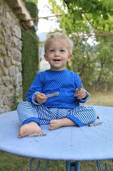 WENDEL dětské oboustranné tričko ze 100% biobavlny - modrá saphhire